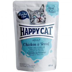 Happy Cat Meat in Sauce Adult kura a pstruh 85 g