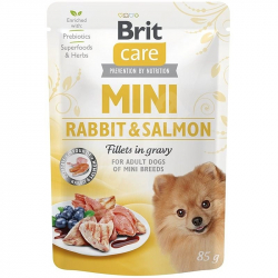 Brit Care adult mini rabbit and salmon fillets in gravy 85 g