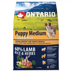 Ontario puppy medium lamb and rice 2,25 kg granule pre psov