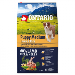 Ontario puppy medium lamb and rice 6,5 kg granule pre psov